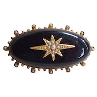 Victorian Mourning Brooch Black with Star and Pearls 18k Gold