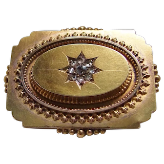 18k Gold Victorian Mourning Brooch with Rose Cut Diamonds