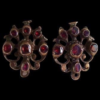 14k Georgian Garnet Earrings 18th Century