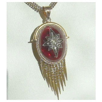 Victorian Large Garnet Carbuncle Rose Cut Diamond Star Fringed Locket Pendant 14k