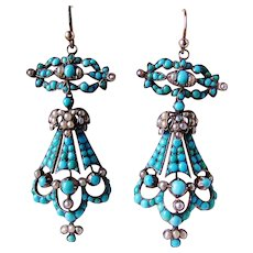Huge Victorian Pave Turquoise Pearl Chandelier Earrings, Rare!