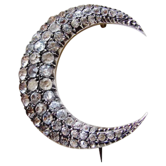 Victorian Triple Row Graduated Paste Crescent Moon Brooch, Silver