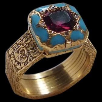Victorian Conversion Bracelet Ring Enamel Diamonds 22K 1848 Kitemark