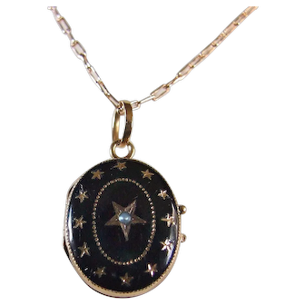 Early Victorian Black Enamel Star Locket with  Pearl and Glass Cover 14k Gold