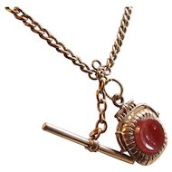 Victorian Gold Filled Watch Chain Necklace with Glass Wax Stamp Embossed Links