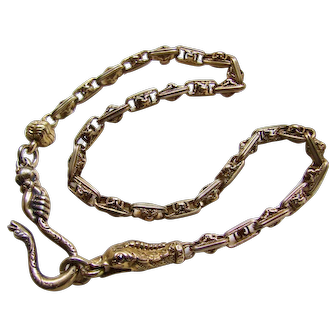 Ornate Victorian Snake Head Chain with Hand Holding Snake Hook Gilt Silver Necklace