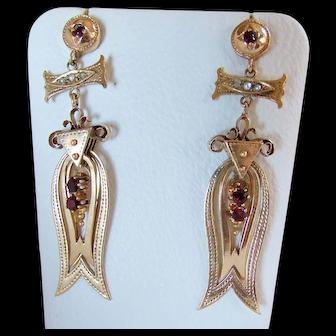 14K Retro Victorian Long Dangle Earrings Garnet Pearl