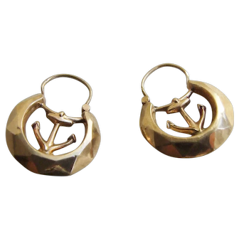 Small Victorian Faceted Hoop Earrings with Anchors 9c