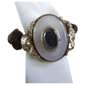 Victorian Mid 19th Century Hair Bracelet with Locket and Engraving