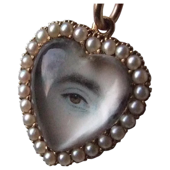 Ethereal Lover's Eye Heart Shaped Pendant 14k and Pearl