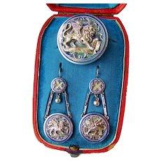 Venice Souvenir Earrings and Brooch Blue Enamel Winged Lion St Mark