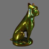 Zsolnay Hungary Eosin Green Boxer Figurine (c.1920-1940)