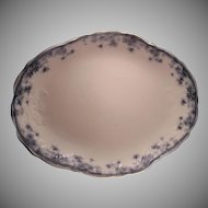 "New Wharf Pottery England ""Ivy"" Pattern Flow Blue Platter (c.1890-1894)"