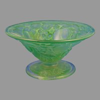 "Consolidated Glass Martele ""Five Fruits"" Design Green Wash Bowl (c.1926-1933)"