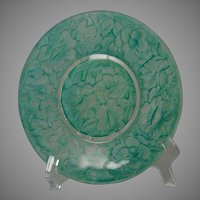 Consolidated Glass Martele Floral Design Green Wash Plate (c.1920's)