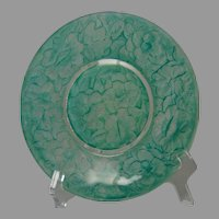Consolidated Glass Martele Floral Design Green Wash Plate (c.1926-1933)