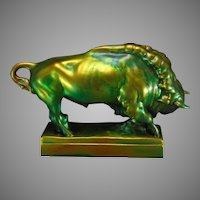 Zsolnay Hungary Eosin Green Bison Figurine (c.1920-1940)