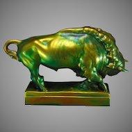 Zsolnay Hungary Eosin Green Bison Figurine (c.1920-1940)
