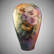 Porcelain Blank Pansy Design Vase (Signed/Dated 1910)