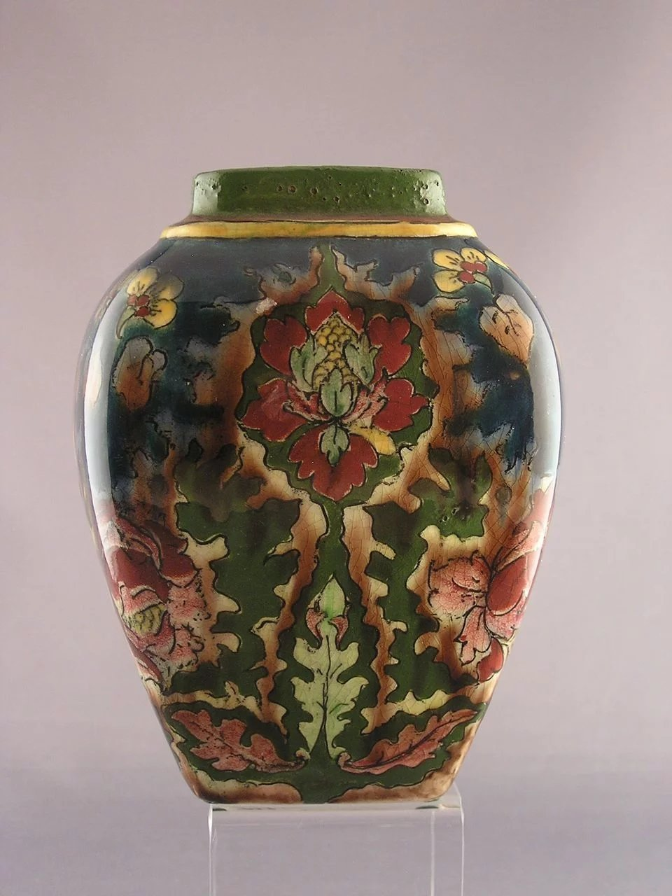 Royal Bonn Germany Old Dutch Floral Motif Vase C 1890 1923 Dark Flowers Antiques Ruby Lane