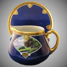 William Guerin Limoges Arts & Crafts Scenic Motif Pitcher & Tray (c.1900-1932)