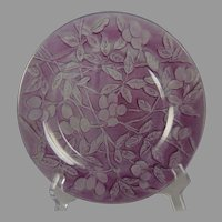 "Consolidated Glass Martele ""Olive"" Design Purple Wash Plate (c.1926-1933)"