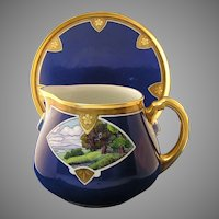 WG&Co. Limoges Scenic Design Pitcher & Tray (Signed/c.1900-1932)
