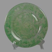 "Consolidated Glass Martele ""Olive"" Design Green Wash Plate (c.1926-1933)"