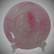 "Consolidated Glass Martele ""Five Fruits"" Design Pink Wash Plate (c.1920's)"