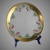 JP Limoges Columbine Flower Motif Charger/Plate (Signed/Dated 1911)