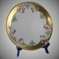 Jean Pouyat (JP) Limoges Columbine Flower Motif Charger/Plate (Signed/Dated 1911)
