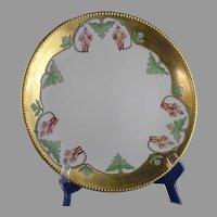 "JP Limoges Columbine Flower Design Charger/Plate (Signed ""Lida Collins""/Dated 1911) - Keramic Studio Design"