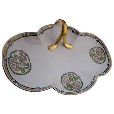 "MZ Austria Rose Design Handled Dish/Tray (Signed ""AM""/c. 1910-1930)"