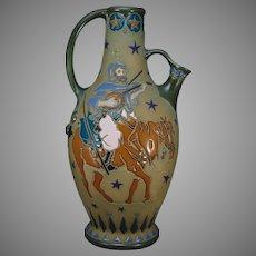 Amphora Austria Musician/Minstrel on Horseback Pitcher (c.1905-1910)