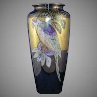 "T&V Limoges Lustre Parrot Motif Vase (Signed ""Boyer""/c.1900-1930)"
