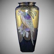 Tressemann & Vogt (T&V) Limoges Lustre Parrot Motif Vase (Signed/c.1892-1930)