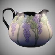 "Limoges 'Mark 6' Grape Motif Cider/Lemonade Pitcher (Signed ""BMP""/Dated 1920) - Keramic Studio Design"
