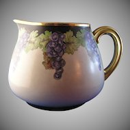 "T&V Limoges Grape Motif Pitcher (Signed ""B. Brimm""/c.1892-1930)"