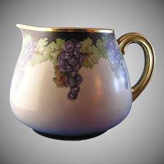 """Tressemann & Vogt (T&V) Limoges Grape Motif Pitcher (Signed """"B. Brian""""/c.1892-1907)"""