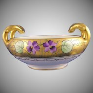 "Bavarian Handled Violet Motif Bowl (Signed by Stouffer Artist ""Stens""/c.1910-1940)"