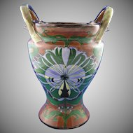 "Royal Bonn Franz Mehlem Germany ""Old Dutch"" Large Abstract Peacock Design Handled Vase (c.1890-1923)"
