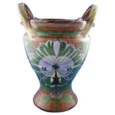 "Royal Bonn Franz Mehlem Germany ""Old Dutch"" Large Abstract Peacock Design Handled Vase (c.1890-1923)"