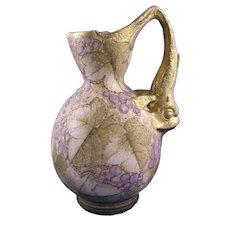Amphora Austria Fish Handled Grape Design Pitcher (c.1899-1905)