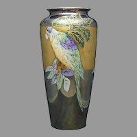 """T&V Limoges Lustre Parrot Design Vase (Signed """"Boyer""""/c.1910-1930)"""