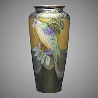 "T&V Limoges Lustre Parrot Design Vase (Signed ""Boyer""/c.1910-1930)"