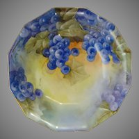 "Coiffe Limoges Grape Motif Bowl (Signed ""GH""/c. 1891-1930)"