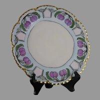 """Haviland Limoges Plum Design Plate (Signed """"I. Lang""""/c.1910-1930)"""