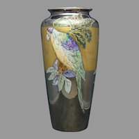 "T&V Limoges Lustre Parrot Design Vase (Signed ""Boyer""/c.1910-1930's)"
