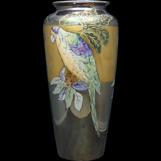 """T&V Limoges Lustre Parrot Design Vase (Signed """"Boyer""""/c.1910-1930's)"""