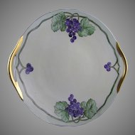 """B&Co. Limoges Grape Motif Handled Plate (Signed """"Christine Y.""""/Dated 1923)"""